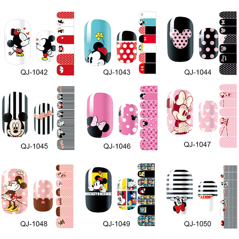 New Trendy Products Nail Art Stickers Mickey Nail Wraps Full Cover Nails Accessories Polish Decals DIY Manicure Beauty Gift free shipping new 2017 hot 13 single pure color series classic collection manicure nail polish strips nail wraps full nail sheet