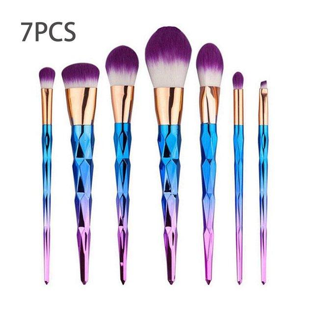 7pcs/set Diamond Shape Rainbow Handle Makeup Brushes Foundation Powder Blush Eye Shadow Lip Brushes Face Beauty Makeup Tools Kit