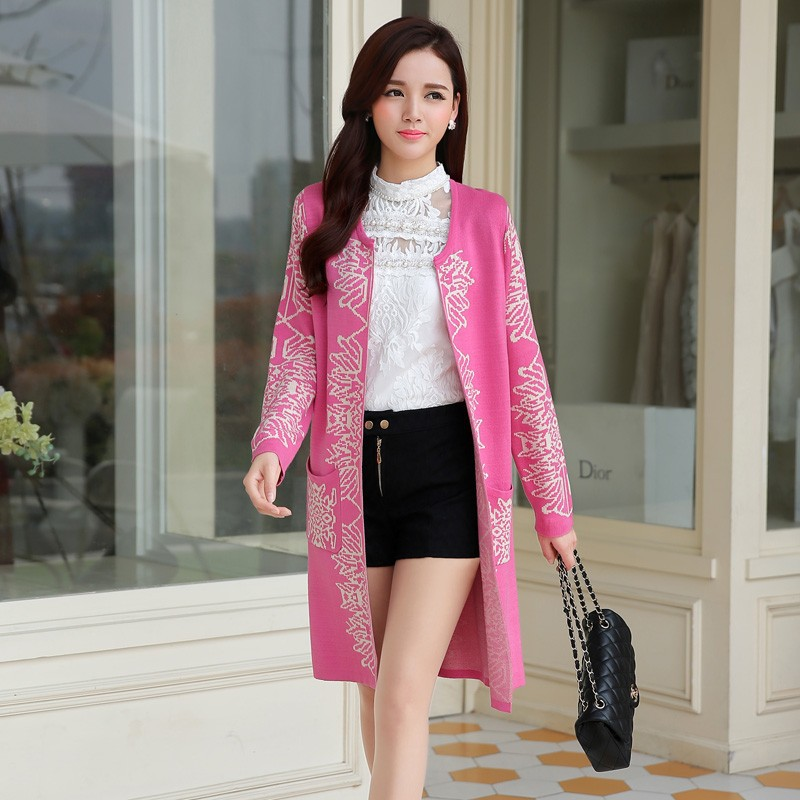 Romantic Style Autumn Ladies Soft Long Wool Cardigan Sweater For Women Pretty Deisgn Pattern Jacquard Cardigans Sweaters Knitting Coat Female b