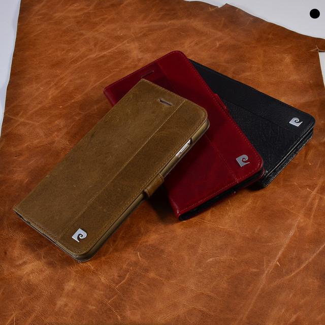 Pierre cardin couro genuíno para apple iphone 7 6/6 s para iphone 6/6 splus 7 plus ultra fino design suporte flip estilo capa casos