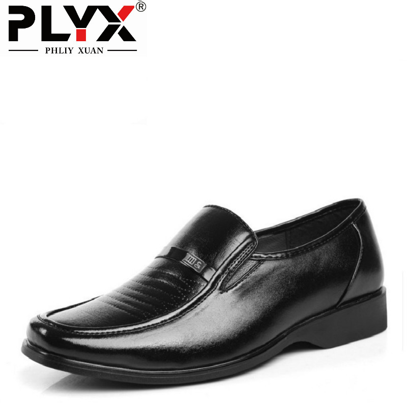 PHLIY XUAN British Fashion 2017 Business Mens Leather Shoes Ofords For Men Leather Flats Round Toe Official Dress Shoes