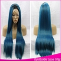 Free Shopping Ombre 2Tones Wig Black/Blue Synthetic Lace Front Wigs Dark Root Silky Straight Hair Heat Resistant For Black Women