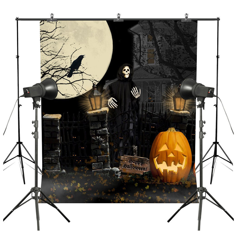 7*5ft Halloween Theme Photography Backgrounds Full Moon Pumpkin Black Raven Haunted House Photo Backgrounds for Studio Pro halloween decor fake human bones lifelike plastic skeleton haunted house decorations props loose bones 28 pieces