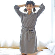 Women Plaid Bathrobes Lady Cotton Summer Robes White Blue Pajama ThinSolid Long Robe Lounge Sleepwear Dressing Gowns