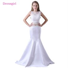 White Evening Dresses 2017 Mermaid Lace Crystals Two Pieces Elegant Women Long Evening Gown Prom Dress Robe De Soiree