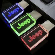 Top Quality 8GB, Car USB Flash Drive Pen Drive, Crystal 3 colors LED for jeep car Logo 8GB 16GB 32GB USB Flash 2.0 Memory Drive