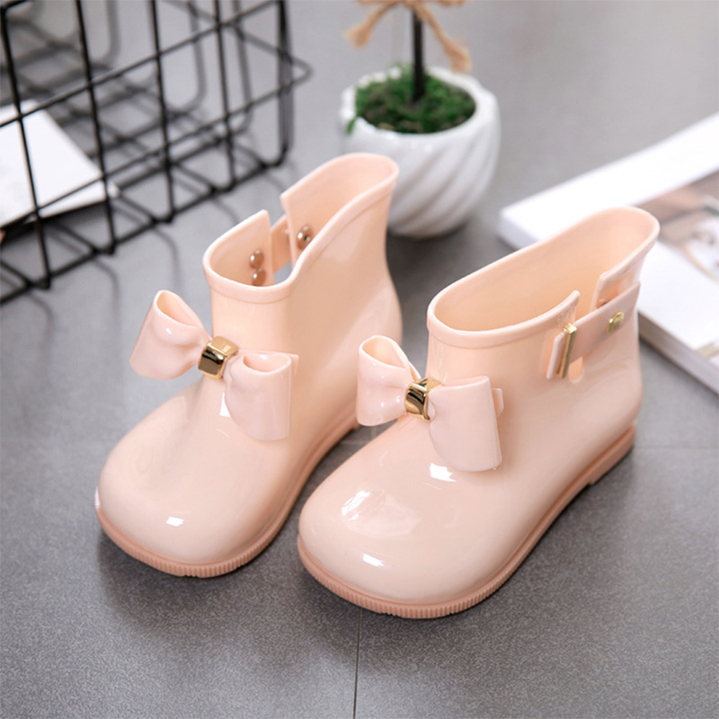Waterproof Child Rubber Boots Jelly Soft Infant Shoe Girl Boots Baby Rain Boots Kids With Bow Girls Children Rain Shoes Bow