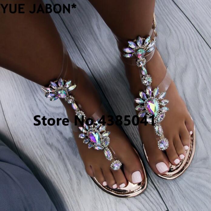 HTB1di3tb.z.BuNjt bXq6AQmpXah 2019 shoes woman sandals women Rhinestones Chains Flat Sandals Thong Crystal Flip Flops sandals gladiator sandals 43 free ship
