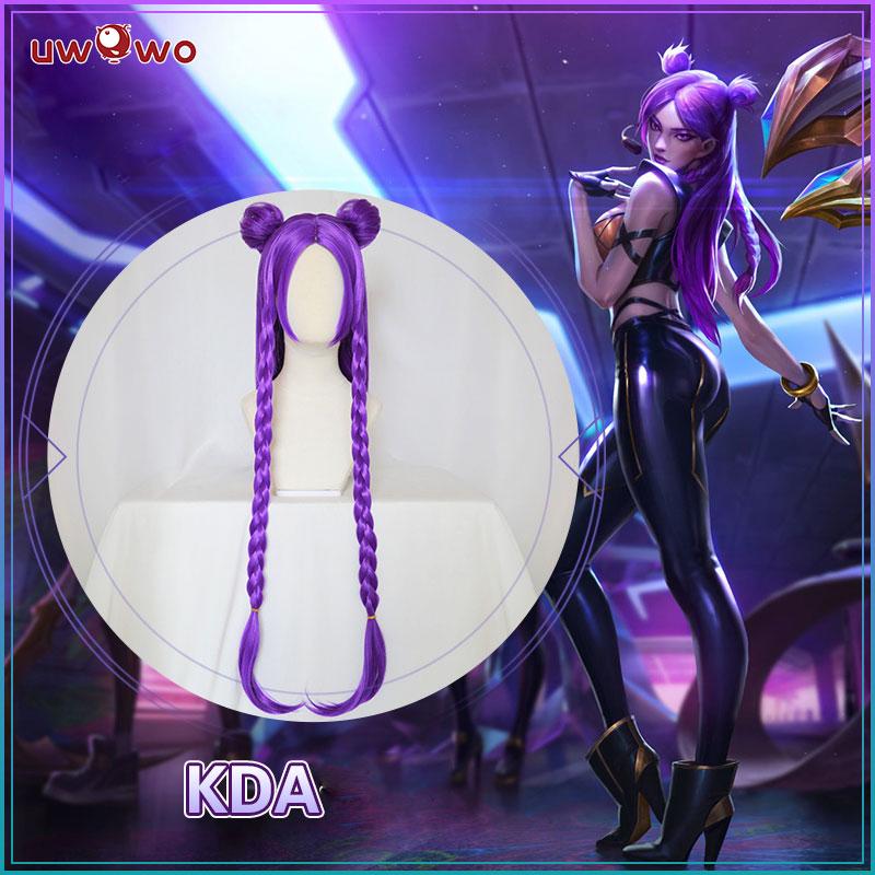 UWOWO Game League Of Legends K/DA kaisa Cosplay Wig LOL KDA Women Purple Heat Resistant Hair for Women Cosplay