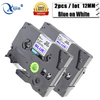 XIJIN 2Pcs 12MM TZe233 TZe-233 Laminated Tape Compatible For Brother Ribbon Blue on White Label Maker