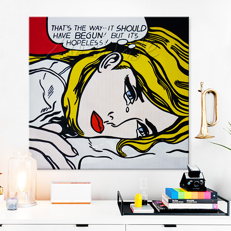 Lichtenstein Pop Art Pintura A Oleo Sobre Tela Mao Pintado Dos