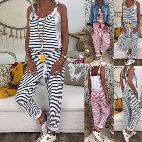 Women Dungarees Harem Strap Summer Pant Loose Jumpsuit Baggy Striped Casual Trousers Overalls Pants Outfits
