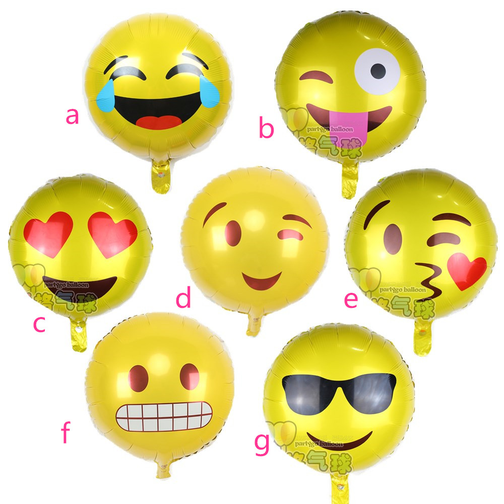 10pcs 18inch Expression Balloons Emoji Foil Balloon Birthday Party Emoticons Helium Wedding Decor Inflatable In Ballons Accessories From