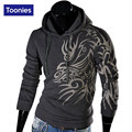 Mens Hoodies Outwear Casual Sweatshirt Suit Sudaderas Male Brand Dragon Printed Hooded Sweatshirts Fit Man Top Hoody Size M-XXL