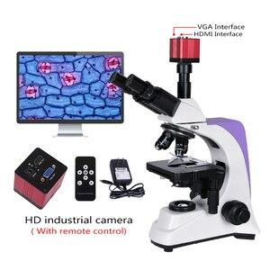 Image 5 - 1000x 2500X المهنية البيولوجية مختبر HD المجهر ثلاثي العينيات مجهر كاميرا رقمية lcd العدسة الإلكترونية USB HDMI VGA