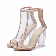2017 Summer Fashion Sexy Girl Plain Apricot transparent Crystal Leather High Heels Zipper Peep Toe sandals Woman Wedding Shoes