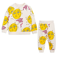 INS HOT KIDS MOON PATTERN HOODIES +PANTS TWO PCS CLOTHING SETS BOYS CLOTHING GIRLS CLOTHING KIDS SPORT SUIT CHRISTAMS