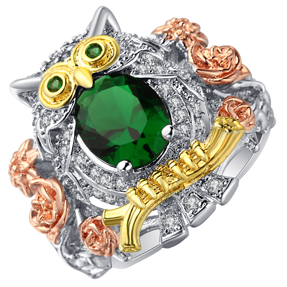 Ufooro Fashion Cute Owl Silver Color Wedding Ring For Women Green Crystal  Mosaic Exquisite Pattern Engagement