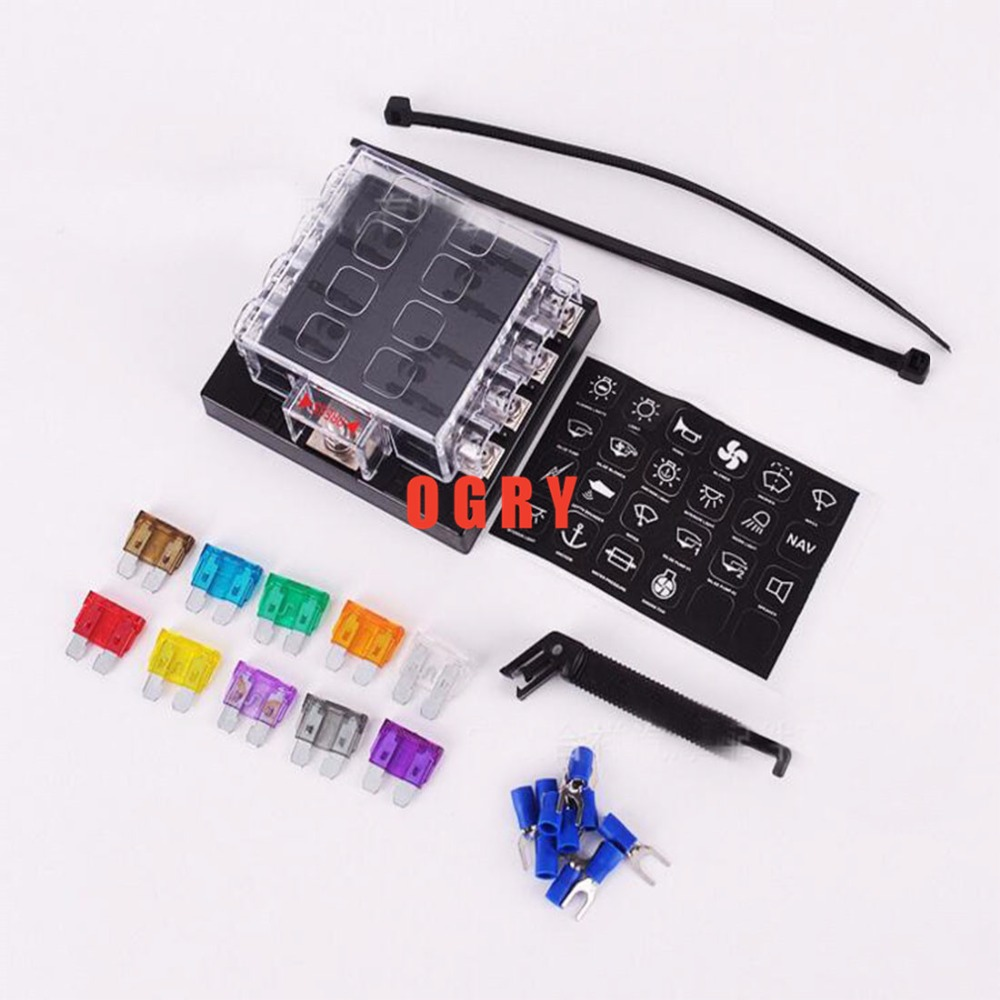 8 way fuse set Terminals Circuit ATC ATO Car Auto Blade Fuse Box Block Holder with 4 pcs fuse,fuse puller and 10 terminals vehicle automotive blade fuse holder with a line of high quality waterproof fuse holder