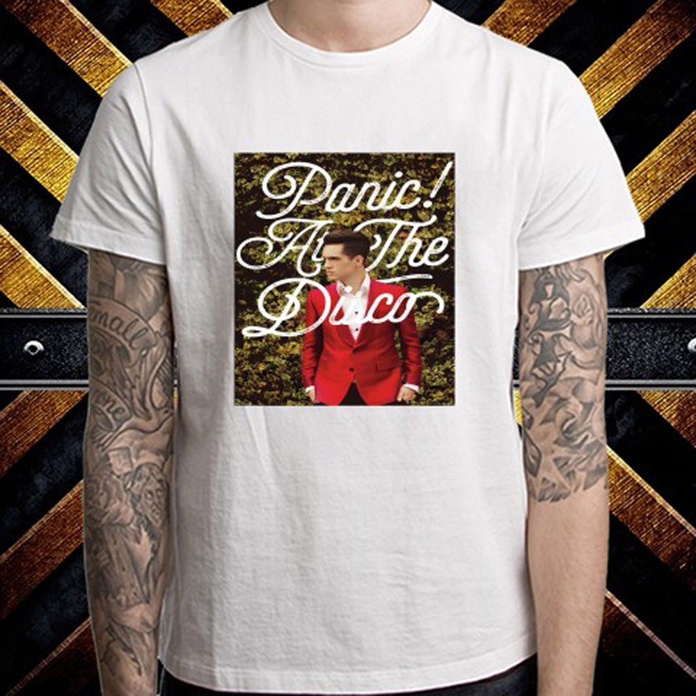 New Panic! At The Disco Brendon Hedges Poster Mens White T-Shirt Size S to 3XL