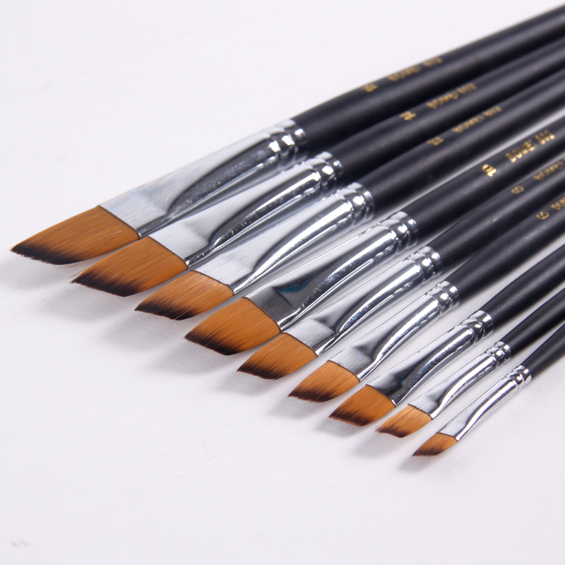 9pcs/set Nylon Acrylic Oil Paint Brush Oblique Painting Brush For Oil Acrylic Brush Pen pincel para pintura Art Supplies 802
