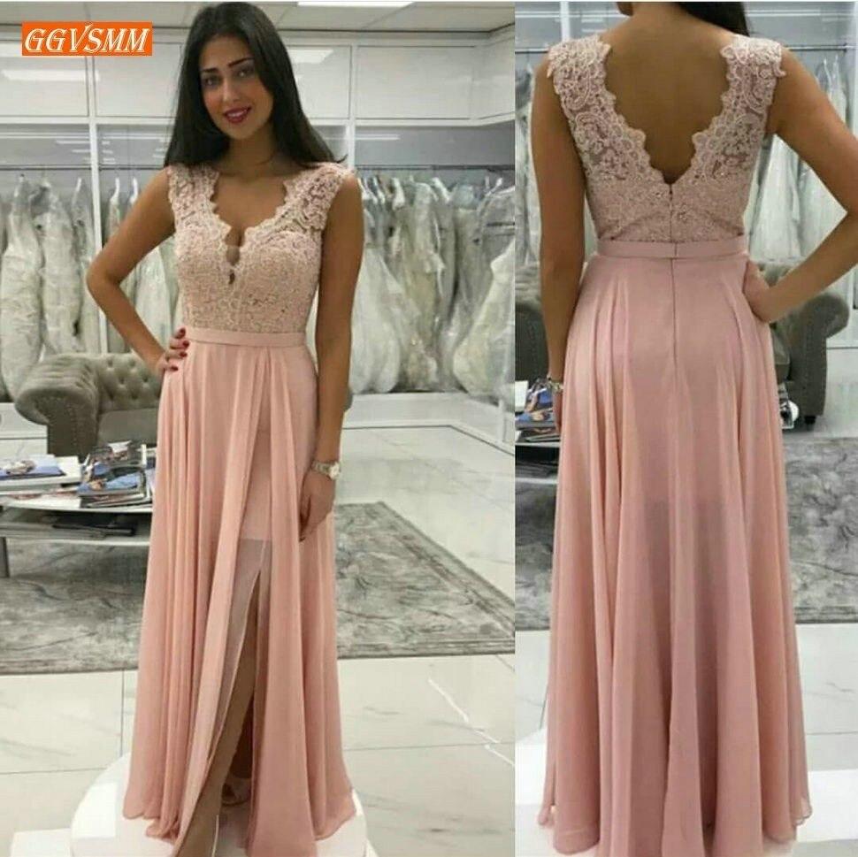 Elegant Pink Chiffon Long Prom Dresses 2019 Sexy Appliques Lace Top Prom Dress Spaghetti Customized A