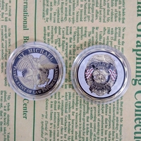 5pcs/lot Hot sale home decor crafts archangel police officer coin with capsule st michael badges challenge coins collectibles