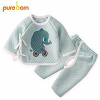 Pureborn Newborn Baby Clothes Winter Warm Suit Set Top And Pants Baby Girl Boy Clothing Cartoon