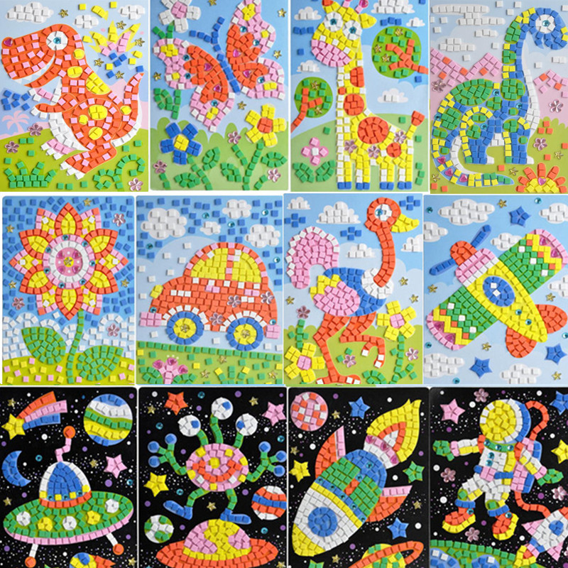 DIY Space Mosaic Set-Make EVA Your Own Picture Animals Sticky Mosaics Vehicles Arts&Crafts Creative Educational Toys For Kids