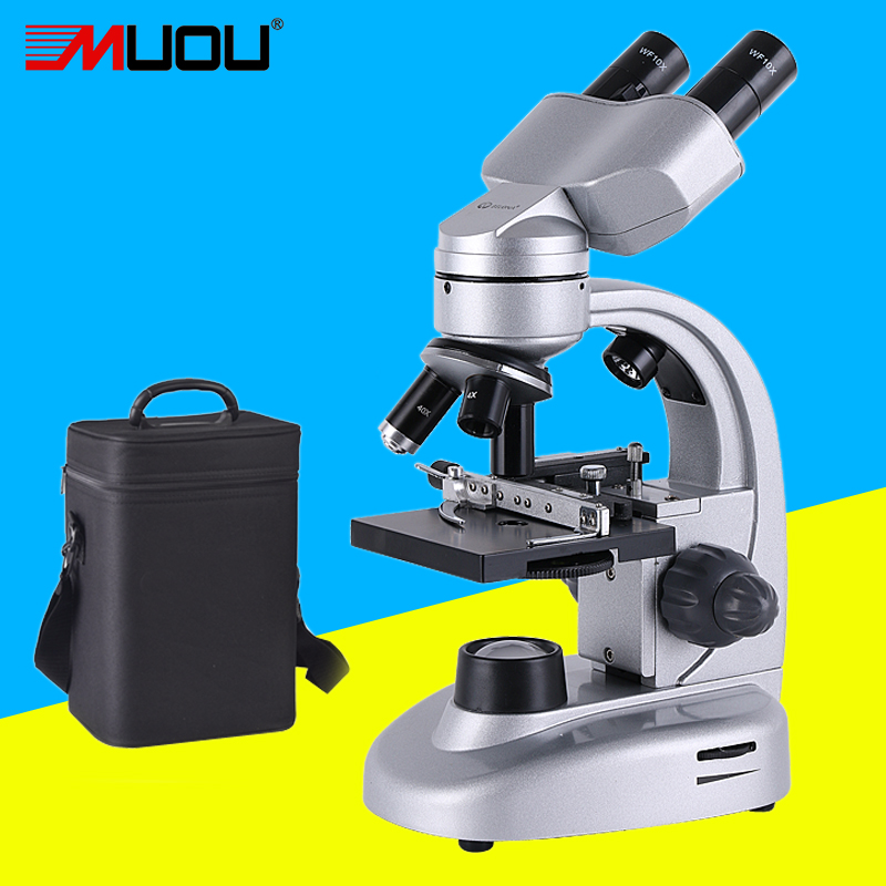 Professional Biological Microscope Up and Down LEDs 40X-800X Students Educational Science Lab USB Binocular Microscope Metal