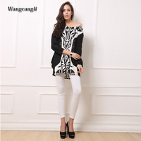 Summer Large Size Dress O Neck Europe And America Fashion Wrapped Long Sleeves Loose Waist Print