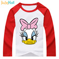 Jiuhehall Good Quality Boy Girl Raglan Sleeve T-Shirts Cartoon Duck Printed Kids Clothes 100% Cotton Children Tee Tops DCM068