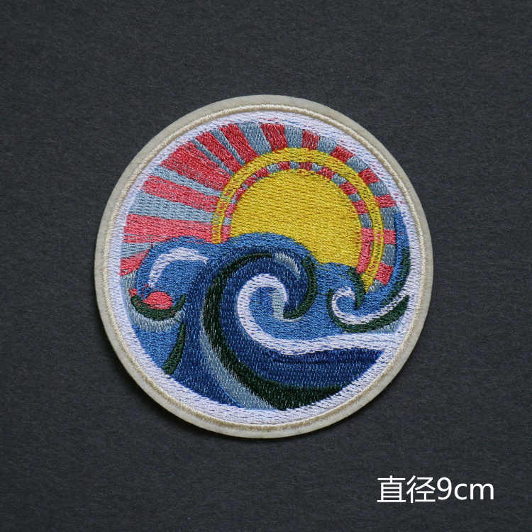 Sun Moon Hati Tangan Cat DIY Lencana Malam Berbintang Lukisan Patch Jean Topi Tas Pakaian Pakaian Jahit Dekorasi Bordiran Patch