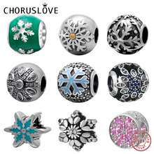 Choruslove Xmas Snowflake Charm 925 Sterling Silver Beads Fit Original Pandora Charms Christmas Gift Bracelet DIY Jewelry best quality luxuxious and nice silver jewelry gift noble purple silver charm series 925 real silver snowflake charms bracelet