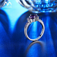 MDEAN White Gold Color Rings For Women Purple AAA Zircon Jewelry Engagement Wedding Size 5 6 7 8 9 10 11 12 MSR199 4