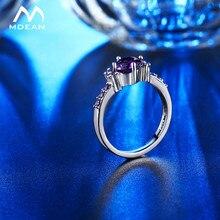 MDEAN anillos de oro blanco para las mujeres púrpura AAA Zircon joyería de compromiso de boda tamaño 5 6 7 8 9 10 11 12 MSR199