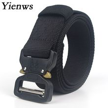 Yienws Riem Heren Army Tactical Belt Men Large Canvas Military Nylon Be