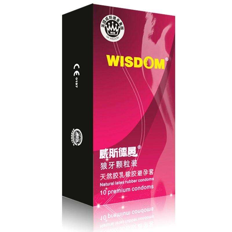 La sabiduría 10 paquetes/1 caja de sexo Oral de preservativos para adultos sexo productos Ampliación de consolador vibratorio condón extensor con vibrador bala funda de pene para adulto juguete sexual para hombre