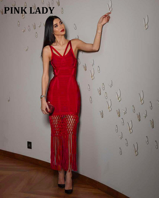 2018 Hot Luxe Bandage Dress Inspired Hollow Grid Caged Tassels Embellished Gown Women Celebrity Maxi Long Bandage Dress L 133