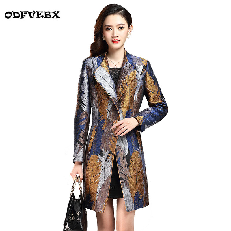 2020 New Autumn Windbreaker Jackets Female Mother Slim Elegant Lace Jacquard Jacket Ladies Medium Long Plus Size Coat Women