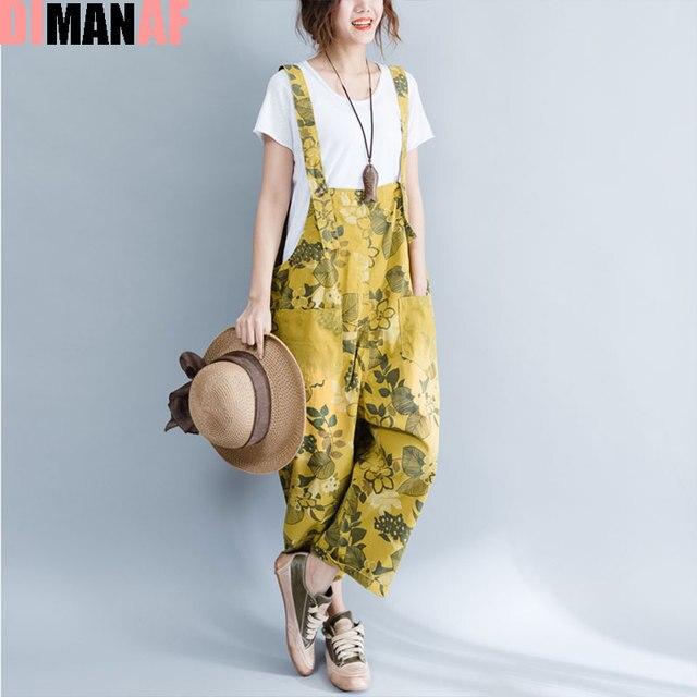 2630cafc9db Plus Size Women Jumpsuits Denim Floral Print Sleeveless Female Casual New  Jeans Denim Wide Leg Pants Harem Fashion Pants Large