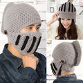 Women And Men Lovers Warm Winter Crochet Knit Hat With a Gladiator Mask Cap! Couples Beanie Ski Roman knight hat! Free Shipping!