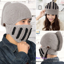 Women And Men Lovers Warm Winter Crochet Knit Hat With a Gladiator Mask Cap Couples Beanie