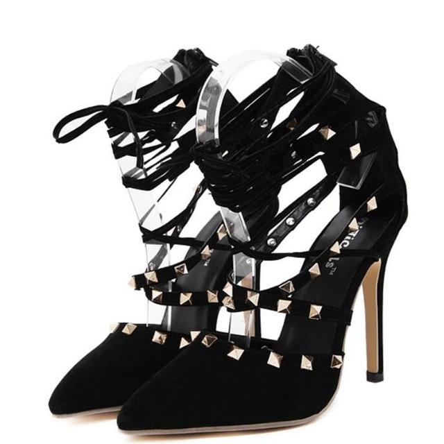 Roman Sandals Women Pumps European New Style Booties Ladies Sexy Hollow Cross Lace Up Rivets Stiletto High Heels Shoes Woman