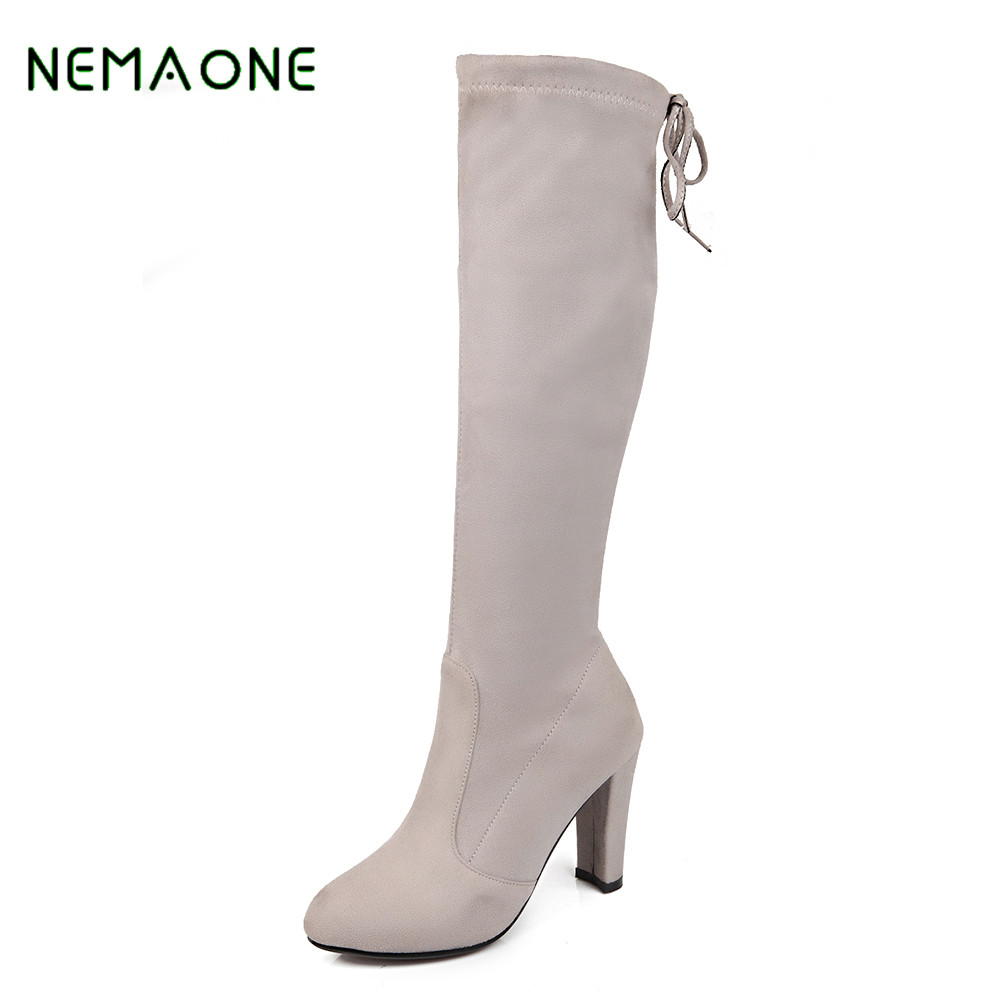 NEMAONE 2017 Sexy Thigh High Boots For Women Velvet Winter Shoes Lace Up Over The Knee Boots Woman High Thick Heel sexy thigh high flats women motorcycle boots lace up over the knee long celebrity woman boots shoes leather winter autumn shoes