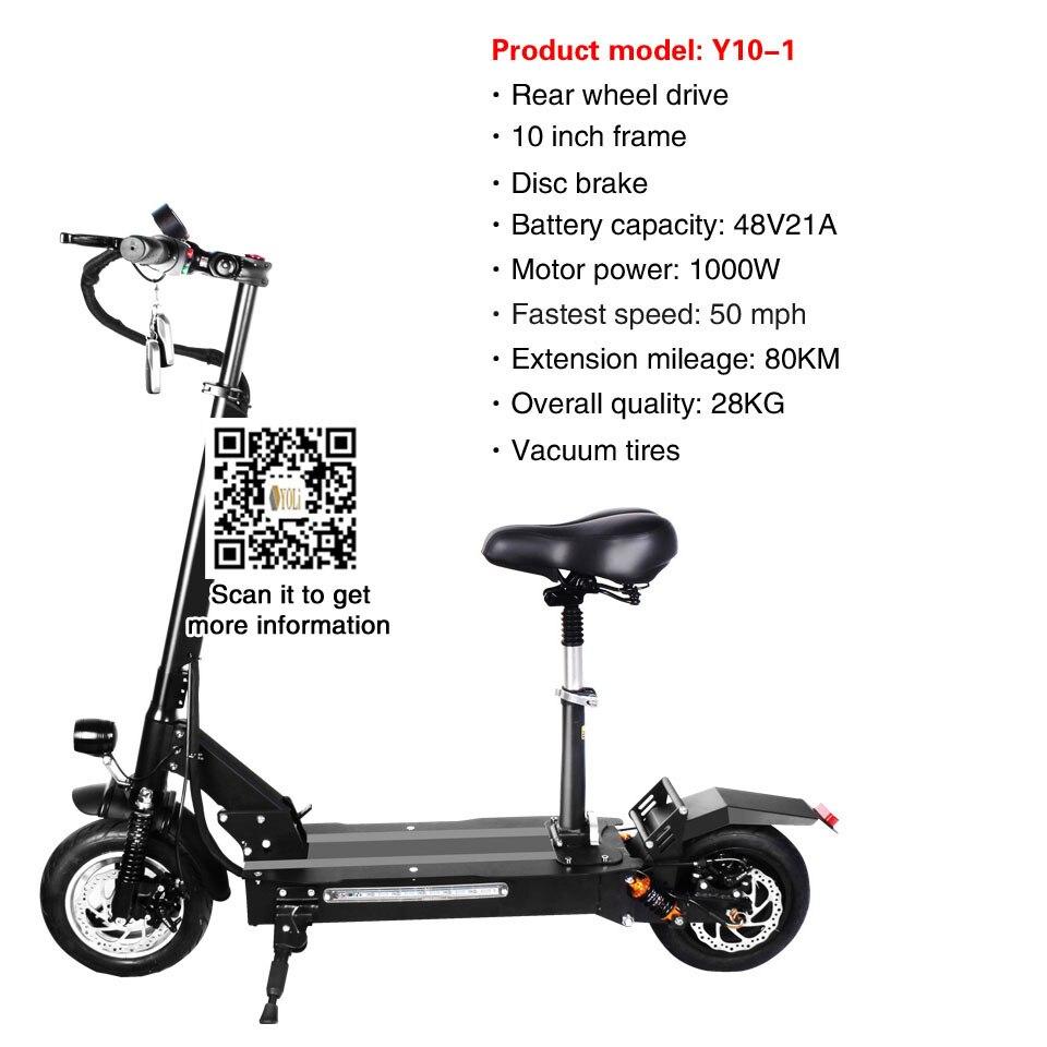 11 pouces pneus Hors Route Scooter Électrique 48 V 21A batterie 1000 w Pliable Électrique Vélo électrique scooter adulte