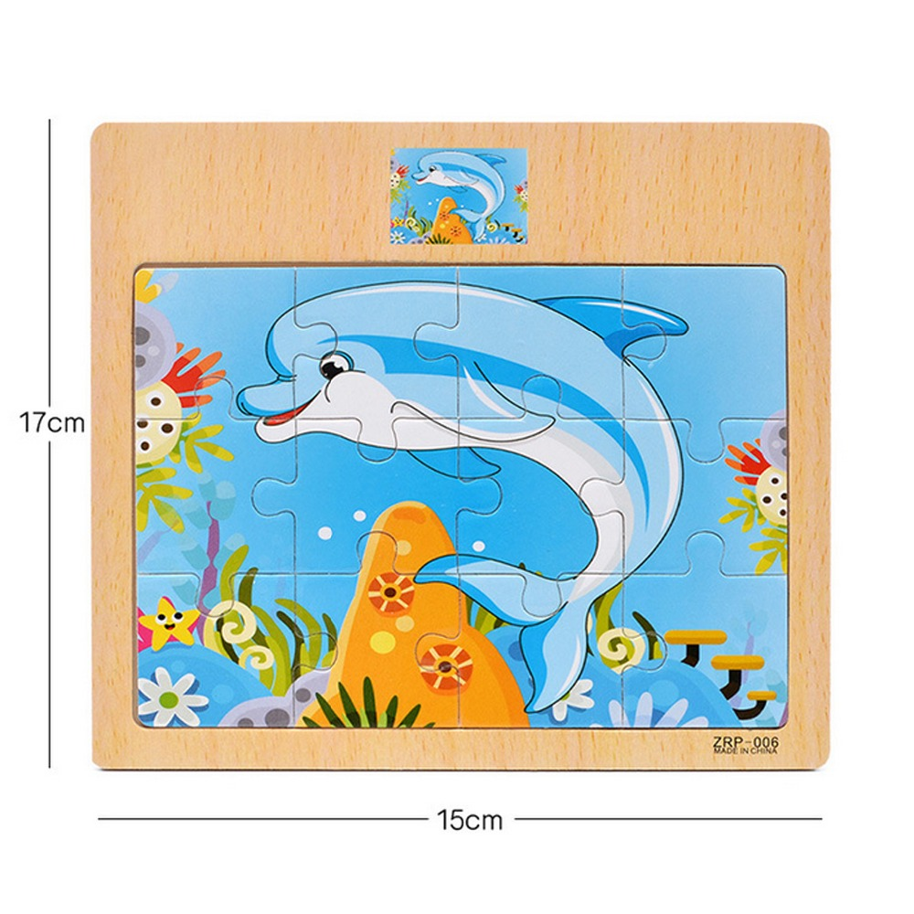 Image 4 - 12 Piece Puzzle Wooden Toys Kids Baby Wood Puzzles Cartoon Vehicle Animals Learning Educational Toys for Children Gift-in Puzzles from Toys & Hobbies