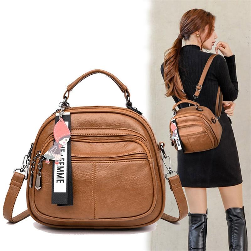 Designer Vintage sac à dos en cuir PU souple femmes multi-fonction Anti-vol petit sac à dos sac à main femme dames sac à bandoulière fille