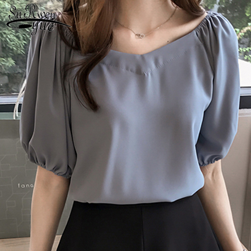 Feminine   blouses   fashion women   blouses   2019 summer plus size 4XL women tops chiffon women   blouse     shirt   blusas feminians 0444 40
