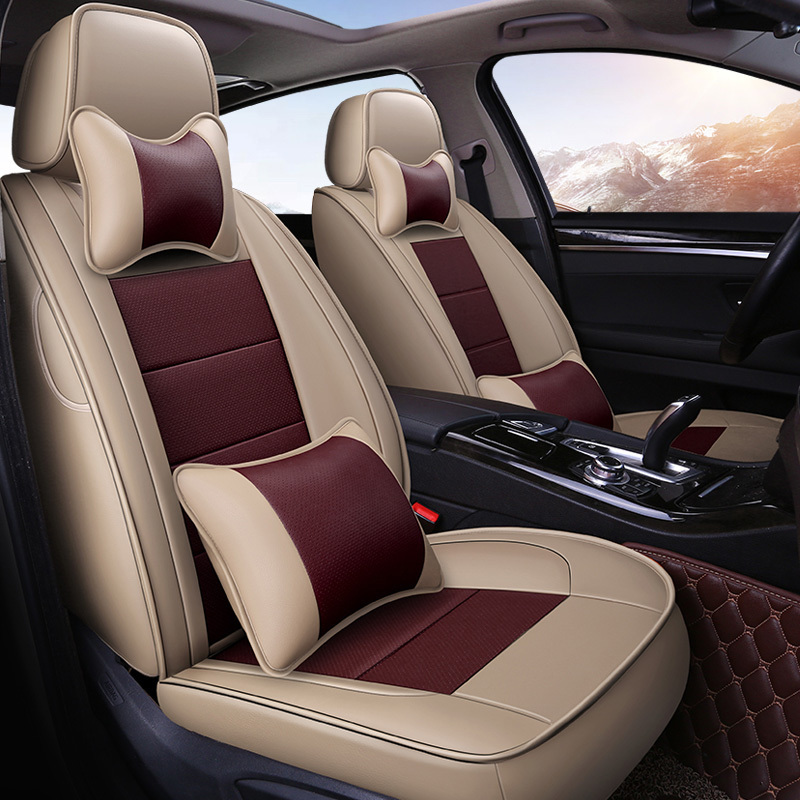 Leather car seat covers seat car seats For ford focus 2 bmw e46 peugeot 206 307 passat b5 renault vw car accessories styling